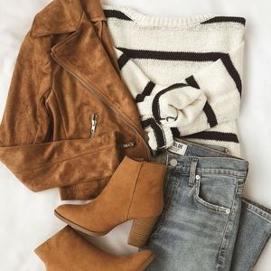 NEW 14th & Union Suede Booties Boots Tan Cognac